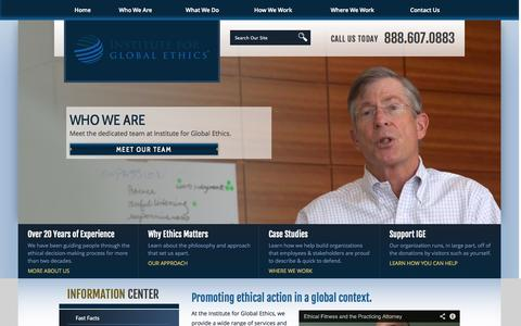 Screenshot of Home Page globalethics.org - Learn About Who We Are | Institute for Global Ethics - captured Oct. 6, 2014