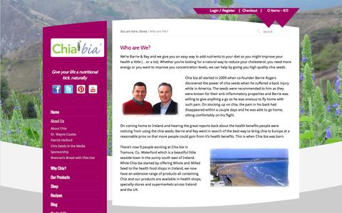 Screenshot of About Page chiabia.com - Chia bia - Our story of how Barrie discovered the power of Chia - captured Sept. 29, 2014