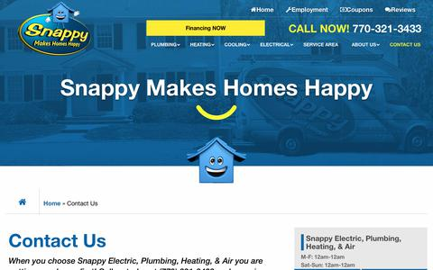 Screenshot of Contact Page snappyservices.com - Contact Us - Snappy Electric, Plumbing, Heating, & Air - captured April 18, 2019