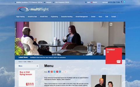 Screenshot of Menu Page multiflight.com - Cafe Bar Menu Leeds Bradford International Airport | Multiflight - captured Oct. 10, 2014