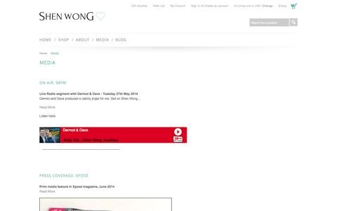 Screenshot of Press Page shenwong.com - Shen Wong jewellery in the Media, Press, Features and Interviews - captured Oct. 7, 2014