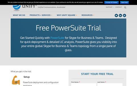 Screenshot of Trial Page unifysquare.com - PowerSuite Trial - Unify Square - captured Sept. 20, 2018