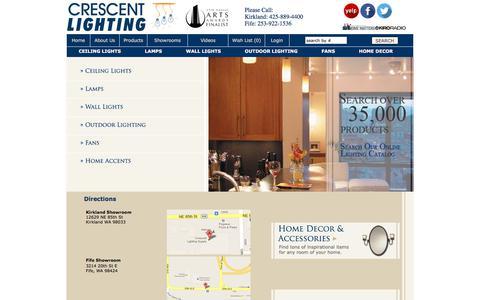 Screenshot of Maps & Directions Page mycrescentlighting.com - Crescent Lighting Showroom Home Lighting and Light Fixtures Showrooms in WA. - captured Sept. 13, 2017