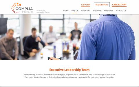 Screenshot of Team Page compliahealth.com - Leadership | Complia Health - captured June 14, 2019