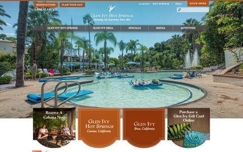 Screenshot of Home Page glenivy.com - Glen Ivy Hot Springs - captured Sept. 19, 2014