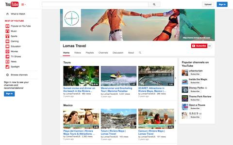 Screenshot of YouTube Page youtube.com - Lomas Travel  - YouTube - captured Oct. 23, 2014