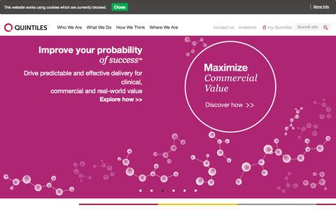 Screenshot of Home Page quintiles.com - CRO, Clinical Trial Services, Pharmaceutical Consulting - Quintiles - captured Oct. 2, 2015