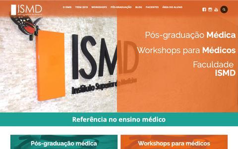 Screenshot of Home Page ismd.com.br - ISMD - Pós-graduações e Workshops para médicos - Em BH e SP - captured Nov. 14, 2018