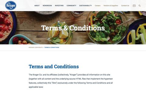 Screenshot of Terms Page thekrogerco.com - Terms & Conditions – The Kroger Co. - captured Oct. 29, 2017