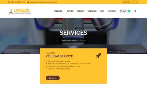 Screenshot of Services Page lambda-instruments.com - Services | LAMBDA - captured Feb. 26, 2018