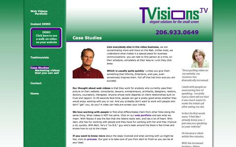 Screenshot of Case Studies Page tvisions.tv - TVisions.tv :: A leader in customized Walk-on Web Videos, serving Seattle, Bellevue, Redmond, and beyond since 1991 - captured Sept. 24, 2018