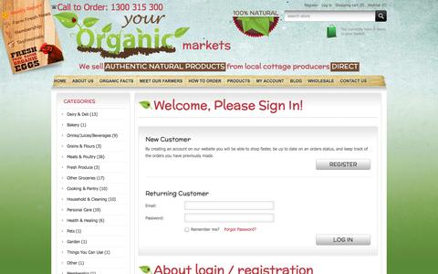 Screenshot of Login Page yourorganicmarkets.com.au - Login | Your Organic Markets - captured Oct. 9, 2014
