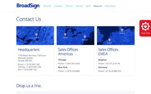 Screenshot of Contact Page broadsign.com - Contact Us - BroadSign - captured July 30, 2016