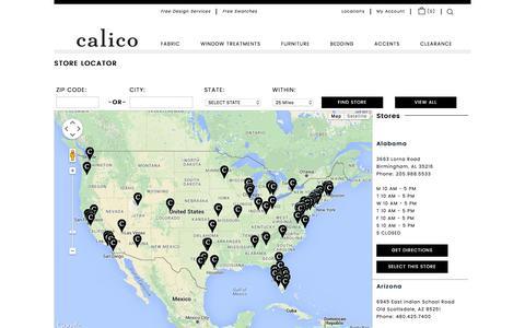 Screenshot of Locations Page calicocorners.com - Fabrics, Window Treatments, Furniture, Bedding, Custom Decorating, Calico Corners - Calico Home. - captured Jan. 24, 2016