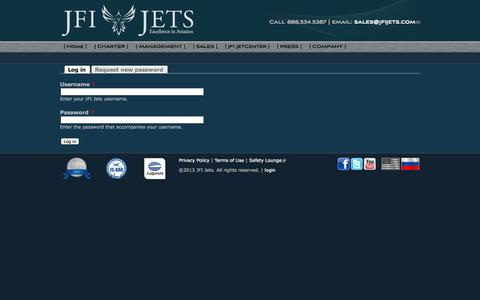 Screenshot of Login Page jfijets.com - User account | JFI Jets - captured Sept. 30, 2014