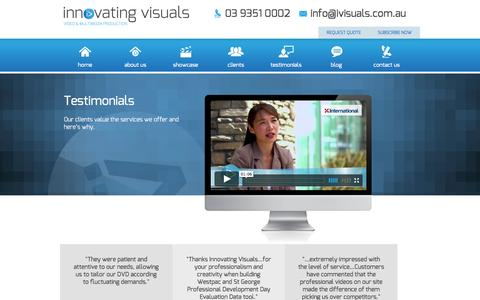 Screenshot of Testimonials Page ivisuals.com.au - Testimonials | 03 9351 0002 - captured Oct. 6, 2014