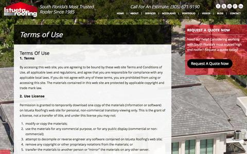 Screenshot of Terms Page istuetaroofing.com - Terms of Use - istueta | istueta - captured Sept. 30, 2014