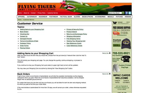 Screenshot of Support Page flyingtigerssurplus.com - Customer Service - - captured Oct. 6, 2014