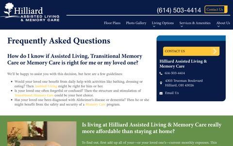 Screenshot of FAQ Page spectrumretirement.com - FAQs | Hilliard Assisted Living & Memory Care - captured Jan. 23, 2017
