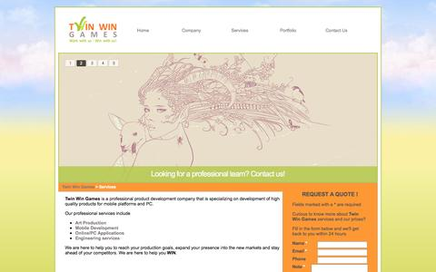 Screenshot of Services Page twinwingames.com captured Oct. 9, 2014