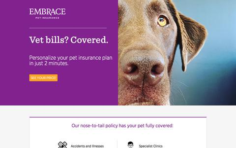 Screenshot of Landing Page embracepetinsurance.com - Embrace Pet Insurance | Experience Better Pet Insurance with EMBRACE - captured July 23, 2017