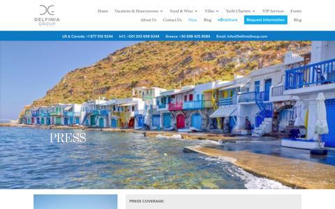 Screenshot of Press Page delfiniagroup.com - Delfinia Group   Press Coverage - captured Oct. 18, 2018