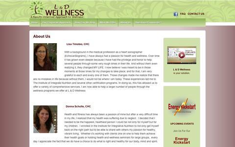 Screenshot of About Page ldwellnesscoaching.com - About Us | L & D Wellness, LLC - captured Oct. 1, 2014