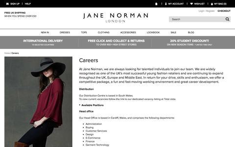 Screenshot of Jobs Page janenorman.co.uk - Careers  | Jane Norman - captured Oct. 2, 2015