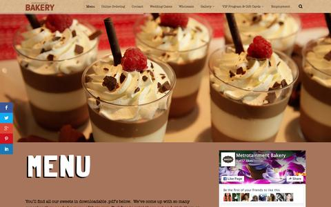 Screenshot of Menu Page metrobakery.com - Menu - Metrotainment Bakery - captured March 18, 2016