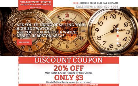 Screenshot of Home Page watch-repair-boston.com - Boston Clock and Watch Repair.Village Watch Center - captured July 9, 2018
