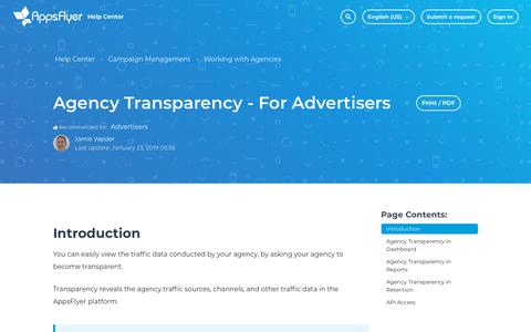 Screenshot of Support Page appsflyer.com - Agency Transparency - For Advertisers – Help Center - captured Feb. 4, 2019