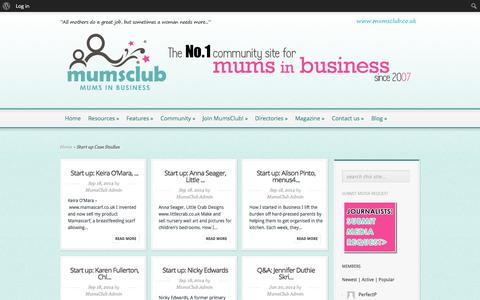 Screenshot of Case Studies Page mumsclub.co.uk - How to start a business Start up Case Studies | MumsClub - captured Oct. 29, 2014