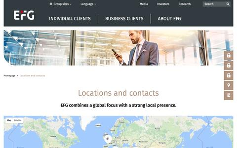 Screenshot of Locations Page efgbank.com - Locations and contacts - EFG International - captured May 12, 2017