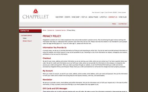 Screenshot of Privacy Page chappellet.com - Chappellet - Contact Us - Customer Service - Privacy Policy - captured Oct. 2, 2014
