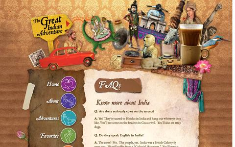 Screenshot of FAQ Page thegreatindianadventure.com - India Travel FAQS - The Great Indian TRavel Co. - captured Dec. 18, 2016