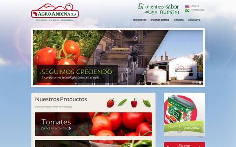 Screenshot of Home Page agroandinaargentina.com.ar - AgroAndina Argentina - captured Feb. 5, 2016