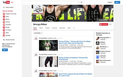 Screenshot of YouTube Page youtube.com - StrongLiftWear  - YouTube - captured Oct. 25, 2014