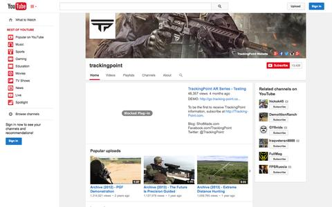 Screenshot of YouTube Page youtube.com - trackingpoint  - YouTube - captured Dec. 17, 2014