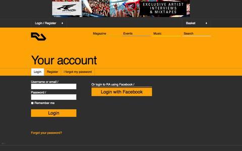 Screenshot of Login Page residentadvisor.net - RA: Login - captured Oct. 29, 2014