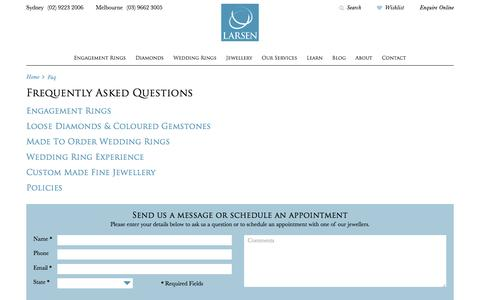 Screenshot of FAQ Page larsenjewellery.com.au - FAQ   Larsen Jewellery - captured May 14, 2017