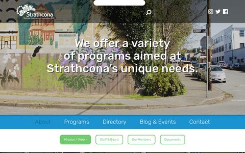 Screenshot of About Page strathconabia.com - About - Strathcona Business Improvement Association - captured Jan. 26, 2017