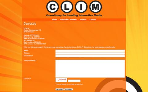 Screenshot of Contact Page clim.nl - CLIM.nl - Contact - captured Oct. 1, 2014