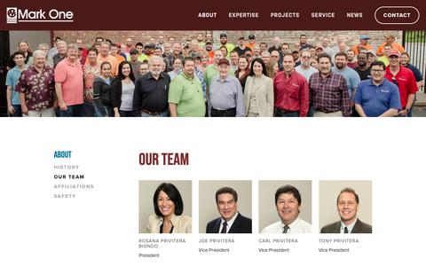 Screenshot of Team Page markone.com - Our Team — Mark One Electric - captured April 9, 2019