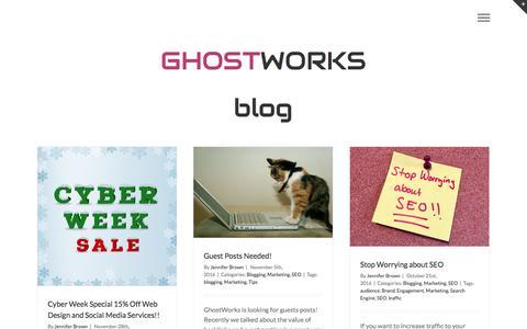 Screenshot of Blog ghostworks.us - Minneapolis Web Design and Online Marketing - Blog - Ghostworks - captured Jan. 29, 2017