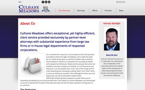 Screenshot of About Page culhanemeadows.com - About Us | Culhane Meadows PLLC - captured Nov. 2, 2014