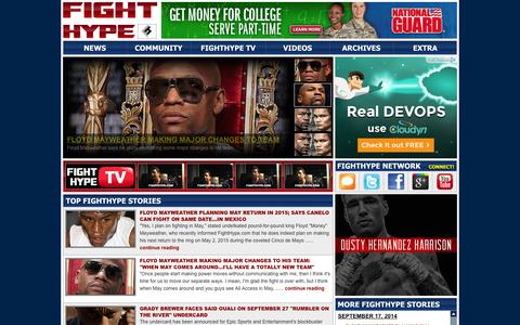 Screenshot of Home Page fighthype.com - FIGHTHYPE.COM - BOXING AND MMA INTERVIEWS, BREAKING NEWS, VIDEOS AND MORE - captured Sept. 19, 2014