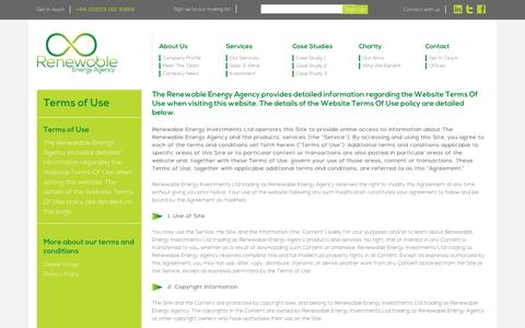 Screenshot of Terms Page renewableenergyagency.com - » Terms of Use - captured Sept. 30, 2014