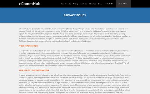 Screenshot of Privacy Page ecommhub.com - Privacy Policy | eCommHub - captured Oct. 28, 2014