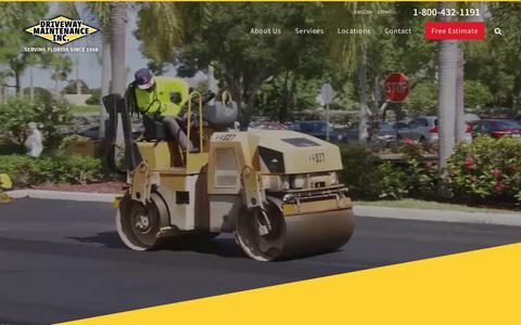 Screenshot of Home Page driveway.net - Driveway Maintenance Inc. | Asphalt Paving Contractor & Sealcoating in Florida - captured Oct. 9, 2018