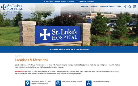Screenshot of Locations Page stlukes-stl.com - Locations & Directions | St. Louis | St. Luke's Hospital - captured Oct. 24, 2017